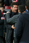 Atletico de Madrid coach Diego Pablo Simeone and Leganes coach Asier Garitano during La Liga match between Atletico de Madrid and Leganes at Wanda Metropolitano Stadium in Madrid , Spain. February 28, 2018. (ALTERPHOTOS/Borja B.Hojas)
