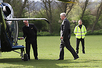 Prince Andrew Departs by using the Queens Helicopter G-XXEC after an engagement in the local area.