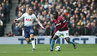 West Ham United's Arthur Masuaku and Tottenham Hotspur's Christian Eriksen<br /> <br /> Photographer Rob Newell/CameraSport<br /> <br /> The Premier League - Tottenham Hotspur v West Ham United - Saturday 27th April 2019 - White Hart Lane - London<br /> <br /> World Copyright © 2019 CameraSport. All rights reserved. 43 Linden Ave. Countesthorpe. Leicester. England. LE8 5PG - Tel: +44 (0) 116 277 4147 - admin@camerasport.com - www.camerasport.com