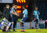 Paul Hayes of Wycombe Wanderers replaces Myles Weston during the Sky Bet League 2 match between Wycombe Wanderers and Yeovil Town at Adams Park, High Wycombe, England on 14 January 2017. Photo by Andy Rowland / PRiME Media Images.