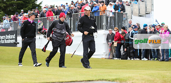 Padraig Harrington (IRL) and Luke Donald (ENG) begin Round Three of the 2015 Dubai Duty Free Irish Open Hosted by The Rory Foundation at Royal County Down Golf Club, Newcastle County Down, Northern Ireland. 30/05/2015. Picture David Lloyd   www.golffile.ie