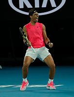 27th January 2020; Melbourne Park, Melbourne, Victoria, Australia; Australian Open Tennis, Day 8; Rafael Nadal of Spain celebrates a point against Nick Kyrgios of Australia during their game
