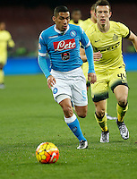 Napoli's Miguel Allan controls the ball during the Quartef-final of Tim Cup soccer match,between SSC Napoli and vFC Inter    at  the San  Paolo   stadium in Naples  Italy , January 19, 2016