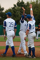 27 july 2010: Felix Brown and David Gauthier celebrate a 8-2 victory over Belgium, in day 5 of the 2010 European Championship Seniors, in Stuttgart, Germany.