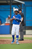 GCL Blue Jays shortstop Orelvis Martinez (18) at bat during a Gulf Coast League game against the GCL Tigers West on August 3, 2019 at the Englebert Complex in Dunedin, Florida.  GCL Blue Jays defeated the GCL Tigers West 4-3.  (Mike Janes/Four Seam Images)
