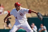 Micheal Rocha (44) Pitching during the NCAA matchup between the University of Arkansas-Little Rock Trojans and the University of Oklahoma Sooners at L. Dale Mitchell Park in Norman, Oklahoma; March 11th, 2011.  Oklahoma won 11-3.  Photo by William Purnell/Four Seam Images