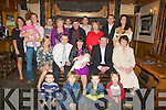 NEW ARRIVAL: Little Nathan Griffin, son of Tommy and Sinead Griffin who was christened in St Gobnait's Church, Keel, Castlemaine on Saturday pictured here with family and friends at the celebrations afterwards in The Beaufort Bar & Restaurant. Front l-r: Kieran Cahill, Michea?l Griffin, Aden Linehan and Cathal Griffin. Seated l-r: Fiona O'Connor, Tommy, Nathan, Sinead, Danny and Betty Griffin. Standing l-r: Annmarie Hayes, Eoghan O'Connor, Kaylah Hayes O'Connor, Niall, Katherine, Fergal, John and Sean O'Connor, Mary B Linehan, Mattie Griffin and Juliette Murphy.