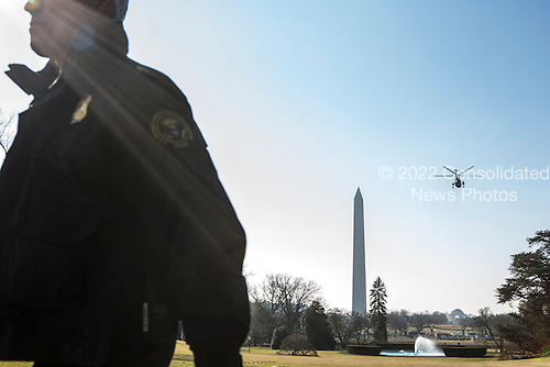Marine One, with President Barack Obama aboard, departs the White House on Thursday, February 14, 2013 in Washington, DC. The president is making a day trip to Decatur, Georgia..Credit: Brendan Hoffman / Pool via CNP