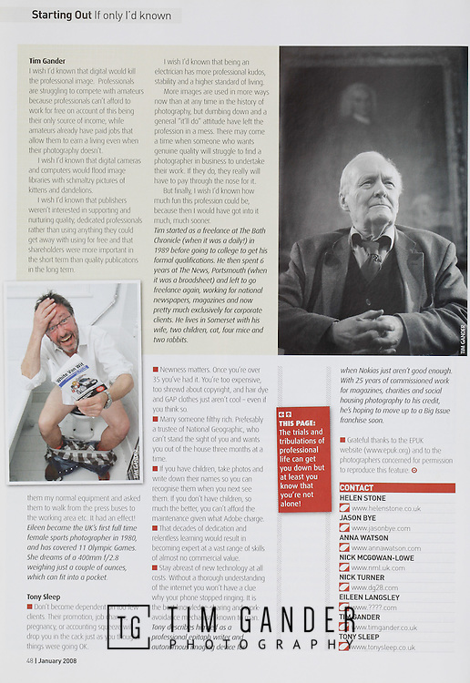 Tear sheet showing photography in context of magazines, books and websites taken for clients in Bath, Bristol and Swindon.
