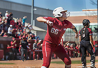 NWA Democrat-Gazette/BEN GOFF @NWABENGOFF<br /> Aly Manzo, Arkansas shortstop, celebrates after getting batted in to score in the 6th inning vs South Carolina Sunday, March 17, 2019, at Bogle Park in Fayetteville.
