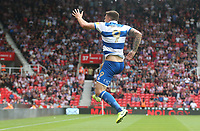 Queens Park Rangers' Jordan Hugill celebrates scoring the opening goal <br /> <br /> Photographer Stephen White/CameraSport<br /> <br /> The EFL Sky Bet Championship - Stoke City v Queens Park Rangers - Saturday 3rd August 2019 - bet365 Stadium - Stoke-on-Trent<br /> <br /> World Copyright © 2019 CameraSport. All rights reserved. 43 Linden Ave. Countesthorpe. Leicester. England. LE8 5PG - Tel: +44 (0) 116 277 4147 - admin@camerasport.com - www.camerasport.com