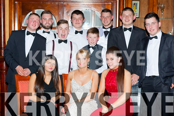 Enjoying the Kerry County Hunt club ball in the River Island Hotel on Saturday night were front row l-r: Cliona McSweeney Killorglin, Amanda long Killorglin and Marie Dineen Scartaglen. Back row:Nathan Ronan Blennerville, Gavin O'Brien Castlemaine, Ian O'Corcoran. Liam Cronin both Milltown, Ross sugrue Farmers Bridge, Brian Cronin, Kevin cronin and Martin Murphy all Milltown.