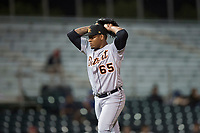 Mesa Solar Sox starting pitcher Gregory Soto (65), of the Detroit Tigers organization, gets ready to deliver a pitch during an Arizona Fall League game against the Scottsdale Scorpions on October 9, 2018 at Scottsdale Stadium in Scottsdale, Arizona. The Solar Sox defeated the Scorpions 4-3. (Zachary Lucy/Four Seam Images)