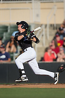 Danny Mendick (1) of the Kannapolis Intimidators follows through on his swing against the Augusta GreenJackets at Intimidators Stadium on May 30, 2016 in Kannapolis, North Carolina.  The GreenJackets defeated the Intimidators 5-3.  (Brian Westerholt/Four Seam Images)