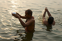 Morning bath and prayer in river Ganga