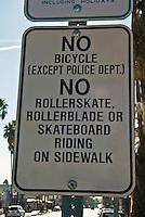 Sidewalk Restrictions Sign, No Bicycles, Rollerskate, Skateboard