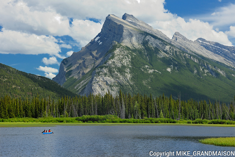 Canoeing on Vermillion Lakes in the Rocky Mountains. Mt Rundle. <br />