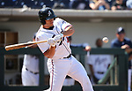 Reno Aces&rsquo; Anthony Recker hits against the Fresno Grizzlies in Reno, Nev., on Monday, April 9, 2018. Fresno won 11-5. <br /> Photo by Cathleen Allison/Nevada Momentum