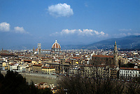 Florence: Panoramic view from Piazale Michelangelo. To right--Santa Croce, 1295-1385.