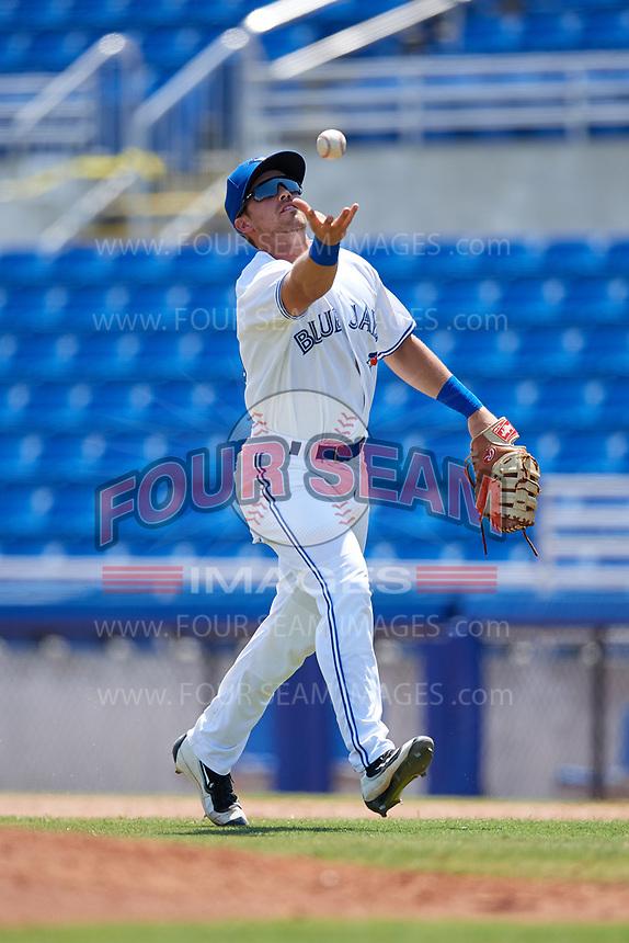 Dunedin Blue Jays first baseman Nash Knight (35) during a game against the Daytona Tortugas on April 22, 2018 at Dunedin Stadium in Dunedin, Florida.  Daytona defeated Dunedin 5-1.  (Mike Janes/Four Seam Images)