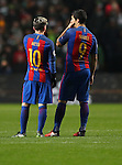 Luis Suárez and Lionel Messi of Barcelona during the Champions League match at Celtic Park, Glasgow. Picture Date: 23rd November 2016. Pic taken by Lynne Cameron/Sportimage
