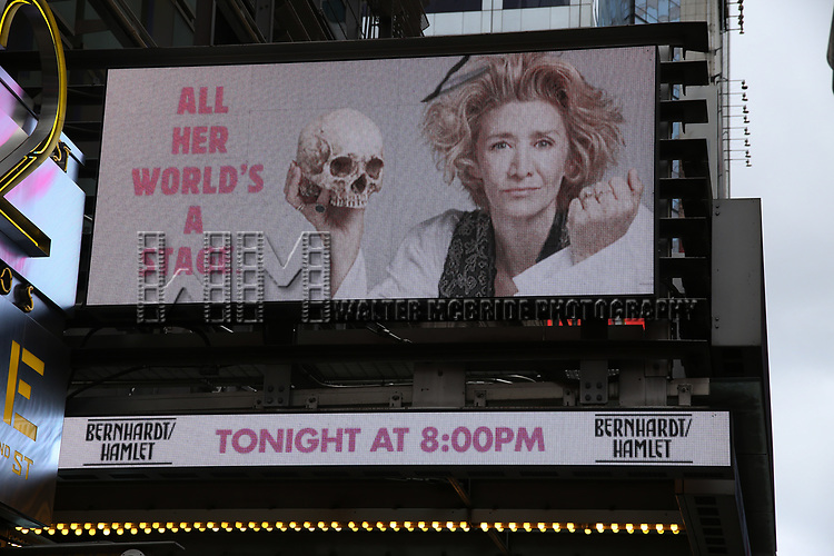 Theatre Marquee for Theresa Rebeck's new play 'Bernhardt/Hamlet' starring Janet McTeer on September 7, 2018 at the American Airlines Theatre in New York City.