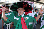 11 June 2006: A Mexico fan in a sombrero at the train station on the way to the game. Mexico played Iran at the Frankenstadion in Nuremberg, Germany in match 7, a Group D first round game, of the 2006 FIFA World Cup.