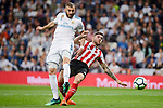 Real Madrid Karim Benzema and Athletic Club Inai Nunez during La Liga match between Real Madrid and Athletic Club at Santiago Bernabeu Stadium in Madrid. April 19, 2017. (ALTERPHOTOS/Borja B.Hojas)