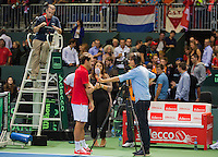 Switserland, Genève, September 18, 2015, Tennis,   Davis Cup, Switserland-Netherlands, Roger Federer is interviewed by Jan-Willem de Lange of Sport 1 TV<br /> Photo: Tennisimages/Henk Koster