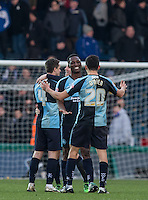 Anthony Stewart of Wycombe Wanderers with goal scorer Luke O'Nien (20) of Wycombe Wanderers at the final whistle during the Sky Bet League 2 match between Wycombe Wanderers and Bristol Rovers at Adams Park, High Wycombe, England on 27 February 2016. Photo by Andrew Rowland.