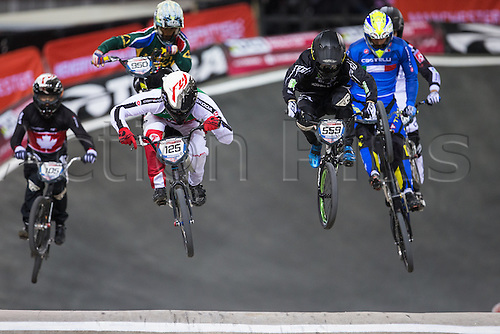 09.04.2016. National Cycling Centre, Manchester, England. UCI BMX Supercross World Cup day 1. Jonathan Demont and Thomas Zula fight for the lead.