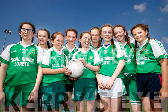 Students from Scoil Bhríde, Loretto Killarney, who took park in the Mounthawk Park, Tralee 5 aside County Finals soccer blitz on Wednesday, May 3rd were l-r: Sue O'Donoghue, Caelyn O'Grady Ali O'Donoghue Clodagh Lucy Jessica Fuller Beatrice Klasauskaite Sarah Reidy, Niamh O'Donoghue and Liadh Bazley.