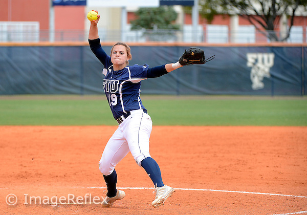 Florida International University  outfielder/pitcher Shelby Graves (19) plays against Middle Tennessee State University.  FIU won the game 11-2 on March 17, 2013 at Miami, Florida. .
