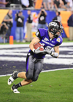 Jan. 4, 2010; Glendale, AZ, USA; TCU Horned Frogs tailback (18) Ryan Christian against the Boise State Broncos in the 2010 Fiesta Bowl at University of Phoenix Stadium. Boise State defeated TCU 17-10. Mandatory Credit: Mark J. Rebilas-