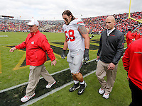 Ohio State Buckeyes offensive linesman Taylor Decker (68) leaves the game during the second half of the NCAA football game at Ross-Ade Stadium in West Lafayette, IN on Saturday, November 2, 2013. (Columbus Dispatch photo by Jonathan Quilter)