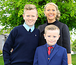 Max and Louise with Seb Lennon during Confirmation for Duleek National School on Friday 22nd May 2015.<br /> Picture:  Thos Caffrey / www.newsfile.ie
