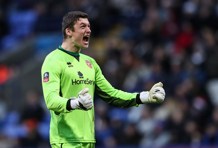 Walsall's goalkeeper Liam Roberts celebrates his side's first goal <br /> <br /> Photographer Andrew Kearns/CameraSport<br /> <br /> Emirates FA Cup Third Round - Bolton Wanderers v Walsall - Saturday 5th January 2019 - University of Bolton Stadium - Bolton<br />  <br /> World Copyright © 2019 CameraSport. All rights reserved. 43 Linden Ave. Countesthorpe. Leicester. England. LE8 5PG - Tel: +44 (0) 116 277 4147 - admin@camerasport.com - www.camerasport.com