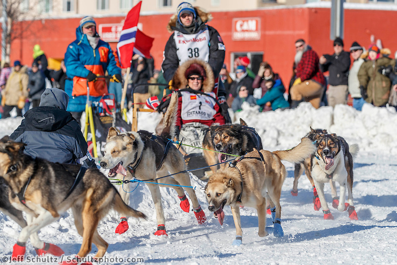 Joar Leifseth Ulsom at the Cordova Street turn during the Ceremonial Start in Anchorage on Saturday March 4, 2017 <br /> <br /> Photo by Jeff Schultz/SchultzPhoto.com  (C) 2017  ALL RIGHTS RESVERVED