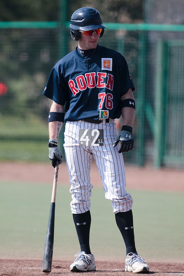 11 April 2010: Joris Bert of Rouen is seen at bat during game 1/week 1 of the French Elite season won 5-1 by Rouen over Montigny, at the Cougars Stadium in Montigny le Bretonneux, France.