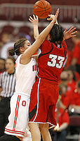 Ohio State Buckeyes guard Cait Craft (13) plays very tight defense against Nebraska Cornhuskers guard Rachel Theriot (33) in the second half at Value City Arena on February 20,  2014. (Chris Russell/Dispatch Photo)