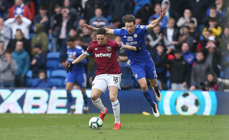 West Ham United's Samir Nasri and Cardiff City's Harry Arter<br /> <br /> Photographer Rob Newell/CameraSport<br /> <br /> The Premier League - Cardiff City v West Ham United - Saturday 9th March 2019 - Cardiff City Stadium, Cardiff<br /> <br /> World Copyright © 2019 CameraSport. All rights reserved. 43 Linden Ave. Countesthorpe. Leicester. England. LE8 5PG - Tel: +44 (0) 116 277 4147 - admin@camerasport.com - www.camerasport.com