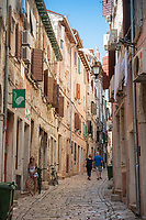 A narrow street in the town of Rovinj, Istria County, Croatia
