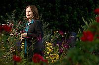 Joan Marler in the garden of her restaurant the French Garden Restaurant and Bistro in Sebastopol, Calif., on November 5, 2013. (Alvin Jornada / The Press Democrat)