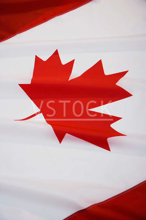 Canadian flag, close-up of maple leaf