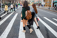 NEW YORK, NY - JANUARY 12: Participants of the No Pants Subway Ride get ready to take a ride on the NYC subway system on January 12, 2020 in New York. The annual event, in which participants board a subway car in January while not wearing any pants while behaving as though they do not know each other, began as a joke by the public prank group Improv Everywhere in New York City and has since spread around the world, with enthusiasts in around 60 cities and 29 countries across the globe, according to the organization's site.   (Photo by Pablo Monsalve/VIEWpress)