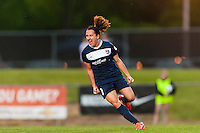 Sky Blue FC forward Lisa De Vanna (11) celebrates scoring during the first half against the Seattle Reign FC during a National Women's Soccer League (NWSL) match at Yurcak Field in Piscataway, NJ, on May 11, 2013.