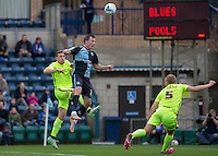 Garry Thompson of Wycombe Wanderers wins the ball in the air during the Sky Bet League 2 match between Wycombe Wanderers and Hartlepool United at Adams Park, High Wycombe, England on 5 September 2015. Photo by Andy Rowland.
