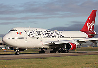 A Virgin Atlantic Boeing 747-41R Registration G-VAST named Ladybird at Manchester Airport on 11.2.19 repositioning to London Gatwick Airport, United Kingdom.