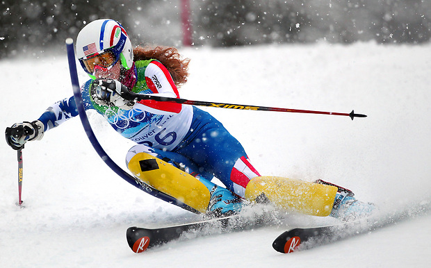 USA's Sarah Schleper passes a gate in the women's slalom at the XXI Olympic Winter Games Friday, February 26, 2010 in Whistler, British Columbia.