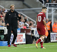 Liverpool manager Jurgen Klopp gives instruction to Philippe Coutinho from the dug out<br /> <br /> Photographer Rich Linley/CameraSport<br /> <br /> The Premier League -  Newcastle United v Liverpool - Sunday 1st October 2017 - St James' Park - Newcastle<br /> <br /> World Copyright &copy; 2017 CameraSport. All rights reserved. 43 Linden Ave. Countesthorpe. Leicester. England. LE8 5PG - Tel: +44 (0) 116 277 4147 - admin@camerasport.com - www.camerasport.com